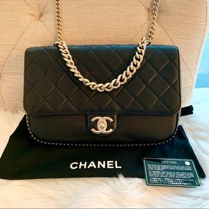 Chanel Caviar Quilted Large Studded Flap Black Bag